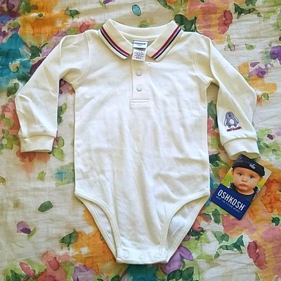 NWT OshKosh White/cream collared onesie 6-9 months